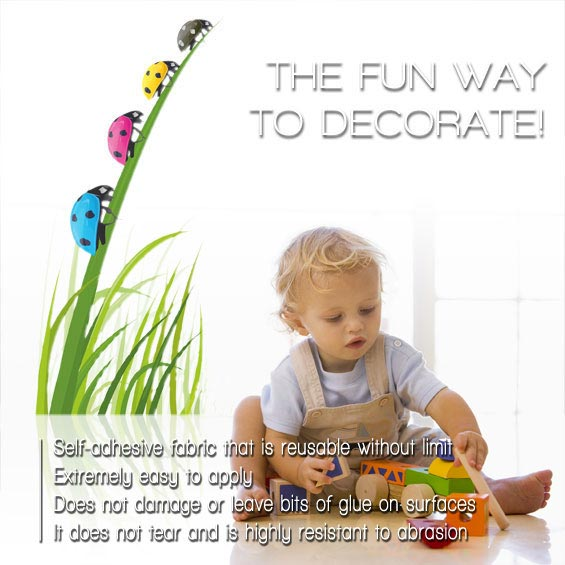 Kids Wall Stickers with cute images and drawings on the most diverse themes and in different styles, sizes and colours, to decorate with a lot of creativity the wall of a nursery, baby or kid room :)