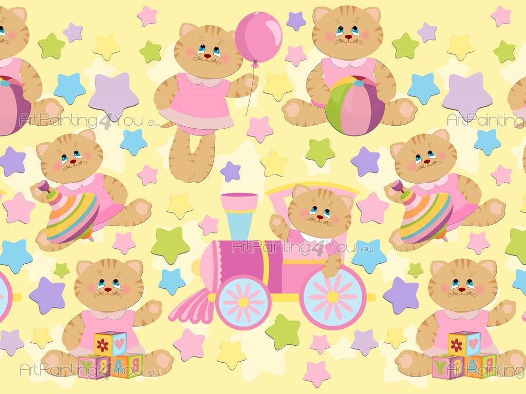 Frises papier peint enfant b b chat fille 1101fr - Papier peint bebe fille ...