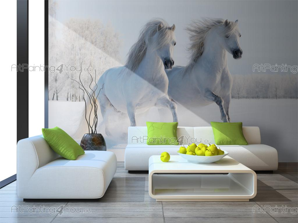 Wall murals posters white horse on the snow for Equestrian wall mural