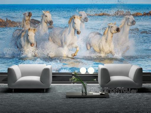 Animals Wall Murals & Posters - Wall mural for animal lovers to decorate a bedroom or living room. Feel refreshed by the sight of this herd of vigorous wild white horses taking a qui...