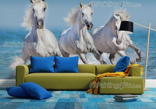 White horses at the beach - Animals Wall Murals & Posters