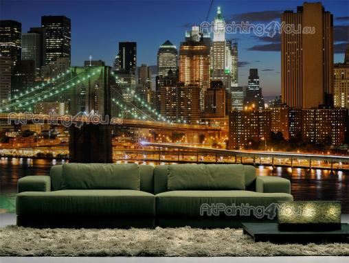Wall murals posters brooklyn bridge new york for Poster mural new york