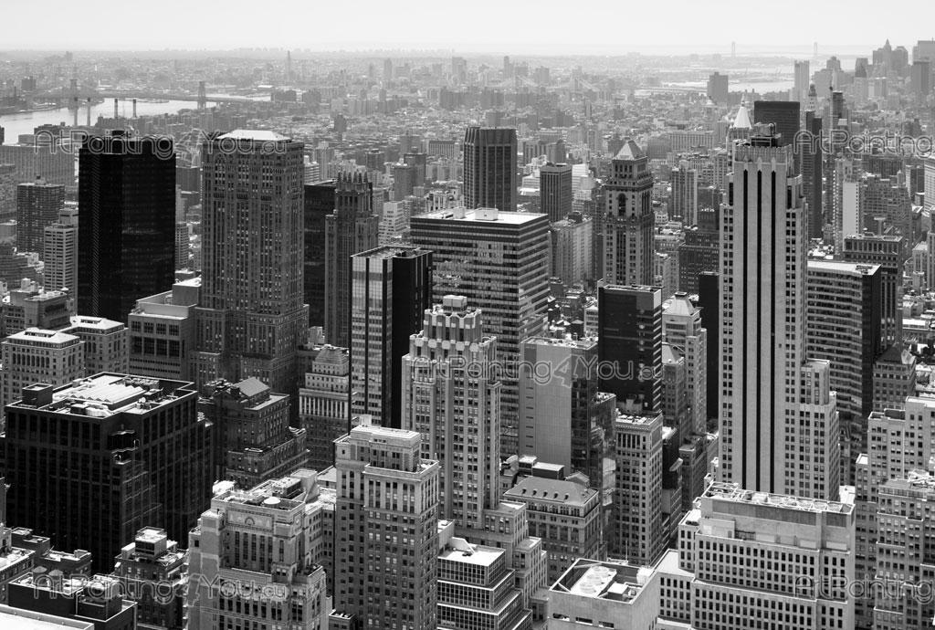 New york vue panoramique papier peint poster for Credence new york noir et blanc