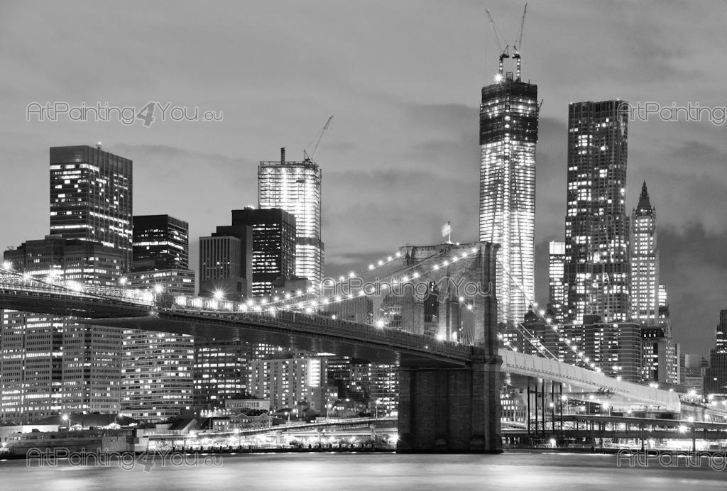Papier peint ville poster impression sur toile pont - Toile pont de brooklyn ...