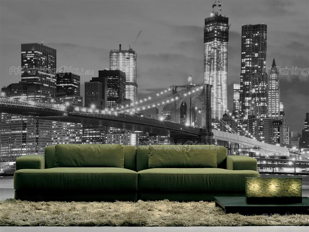wall murals cities canvas prints posters brooklyn bridge new york 715en. Black Bedroom Furniture Sets. Home Design Ideas