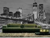 Brooklyn Bridge New York - Fotobehang & Posters Zwart en Wit