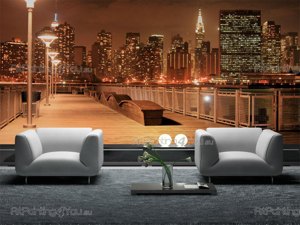 papier peint ville poster impression sur toile manhattan new york nuit 1240fr. Black Bedroom Furniture Sets. Home Design Ideas