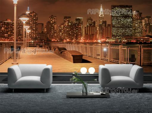 papier peint ville poster impression sur toile manhattan new york nuit 1240fr. Black Bedroom Furniture Sets. Home Design Ideas
