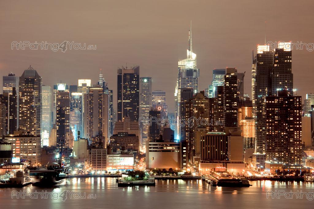 Wall murals posters new york manhattan at night for Acheter poster mural new york