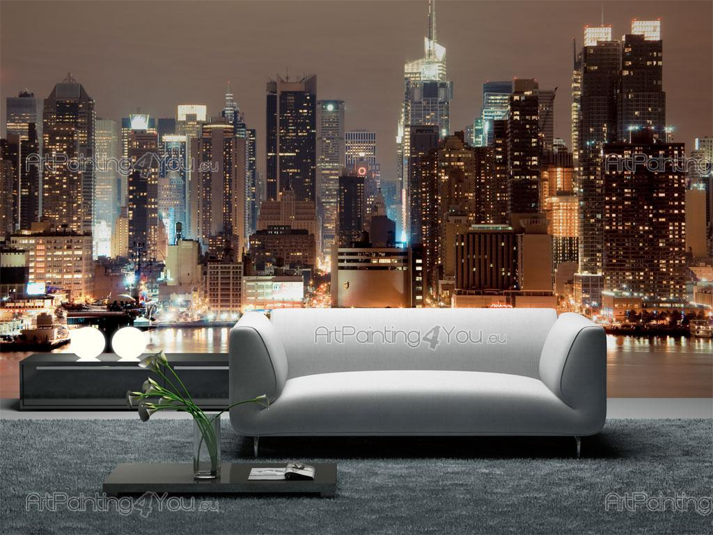 wall murals cities canvas prints posters new york manhattan at night 1250en. Black Bedroom Furniture Sets. Home Design Ideas