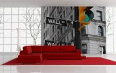 Wall Street Sign - Black and White Wall Murals & Posters