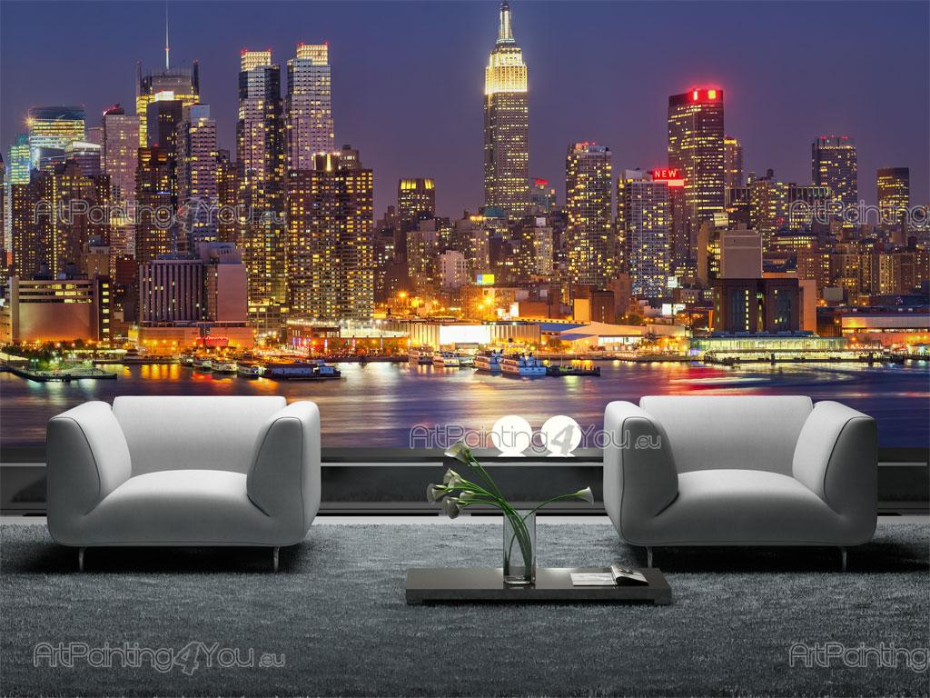 wall murals cities canvas prints posters new york at night 1295en. Black Bedroom Furniture Sets. Home Design Ideas