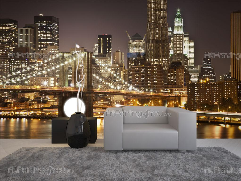 wall murals cities canvas prints posters brooklyn bridge new york 1433en. Black Bedroom Furniture Sets. Home Design Ideas