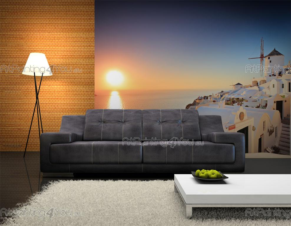 Wall murals sunset canvas prints posters santorini for Canvas wall mural