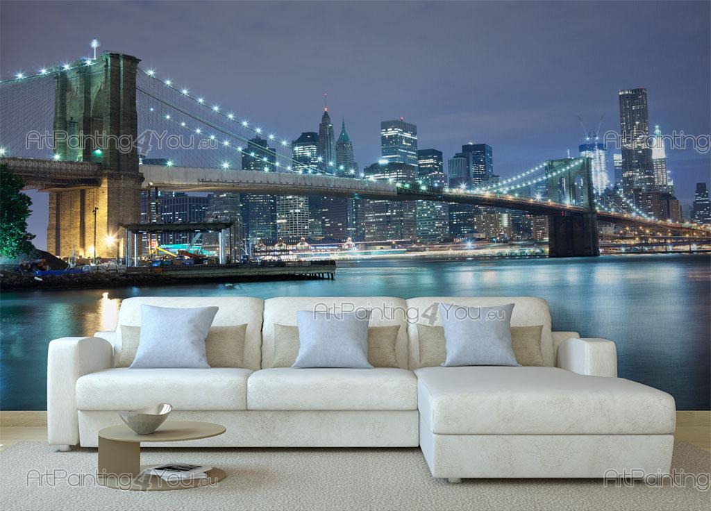 Wall murals posters brooklyn bridge nyc for Brooklyn bridge wall mural
