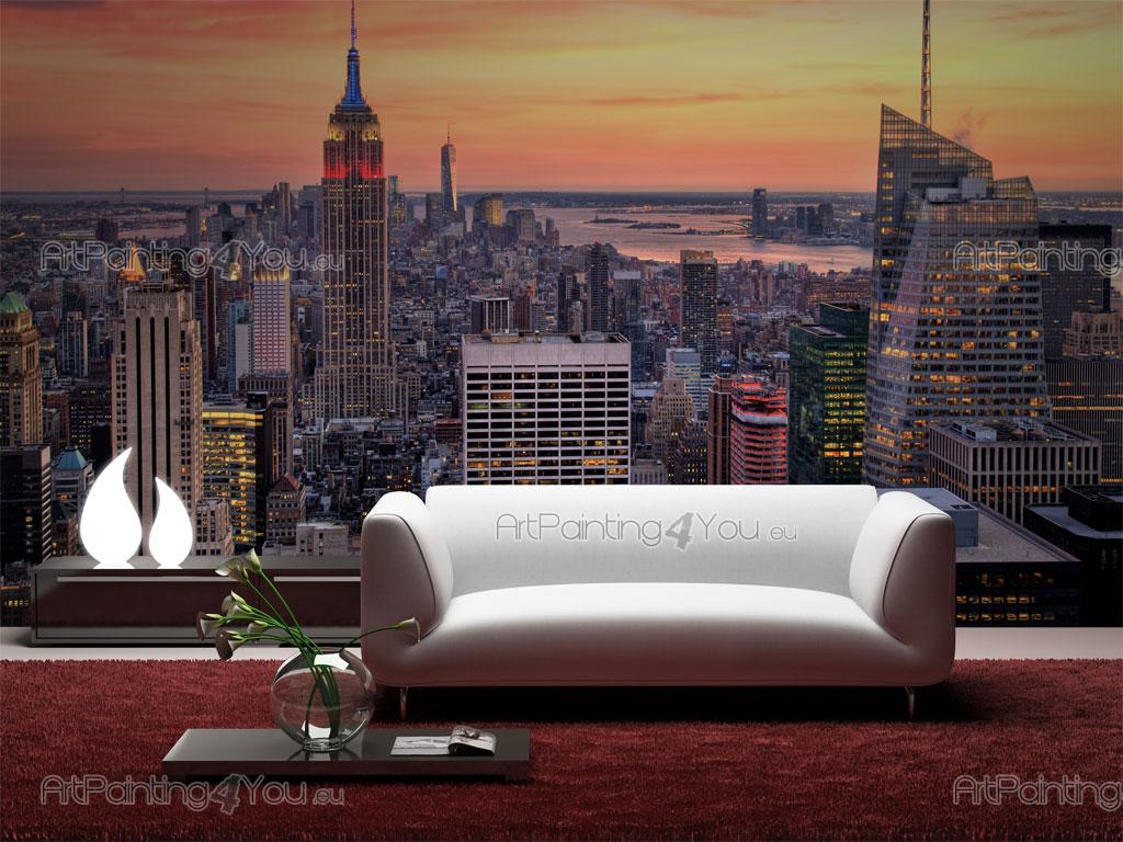 wall murals posters new york panoramic view. Black Bedroom Furniture Sets. Home Design Ideas