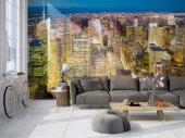 New York City Skyscrapers - Wall mural with custom size for interior decoration illustrating a magnificent view of New York City with skyscrapers and city lights. Give more charm and a modern touch to your decor with this fabulous New York wall mural that you can buy with the exact size of your wall.