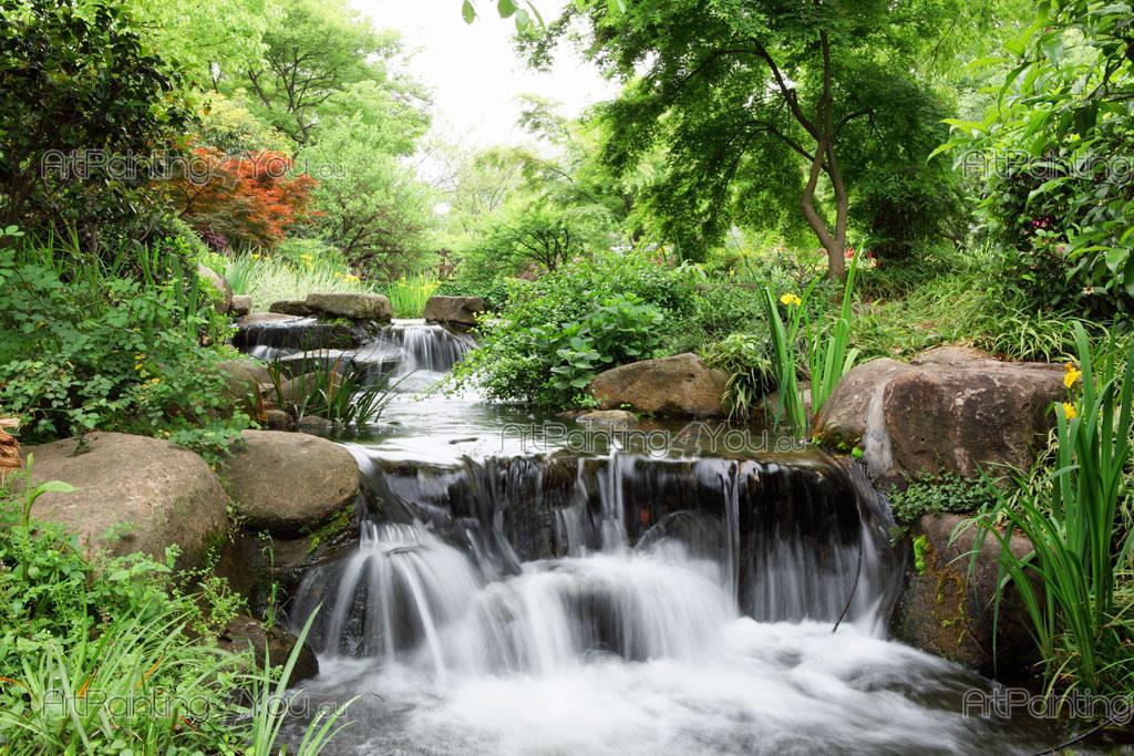 Papier peint cascades poster impression sur toile for Cascade jardin japonais