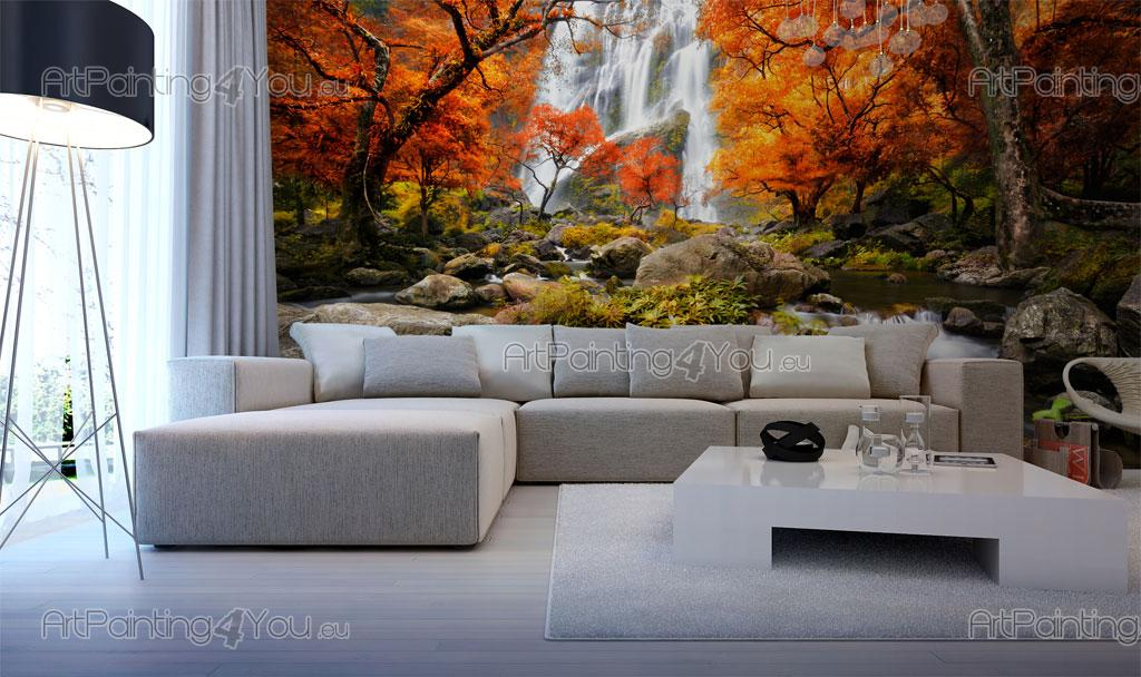 Wall murals posters custom size autumn waterfall for Autumn wall mural