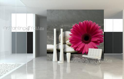 Pink Gerbera - Black and White Wall Murals & Posters