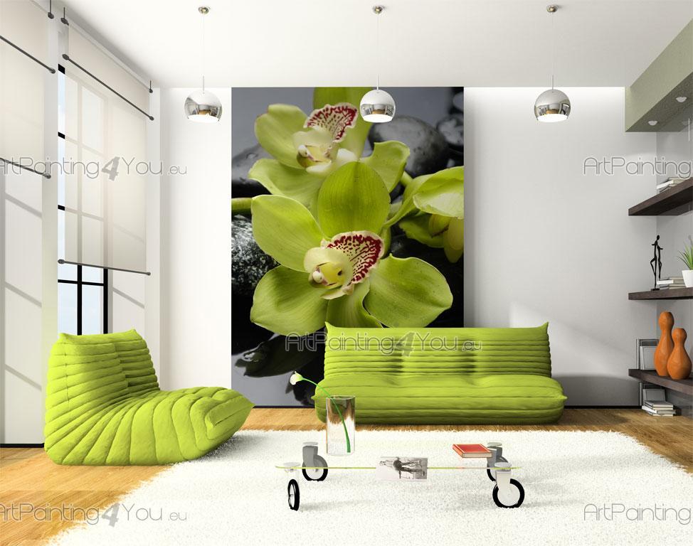 wall murals posters zen stones orchids mcf1032en. Black Bedroom Furniture Sets. Home Design Ideas