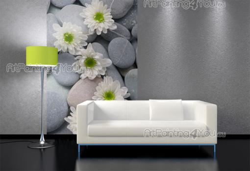 Zen Stone & White Flower - Wall Murals Flowers & Posters
