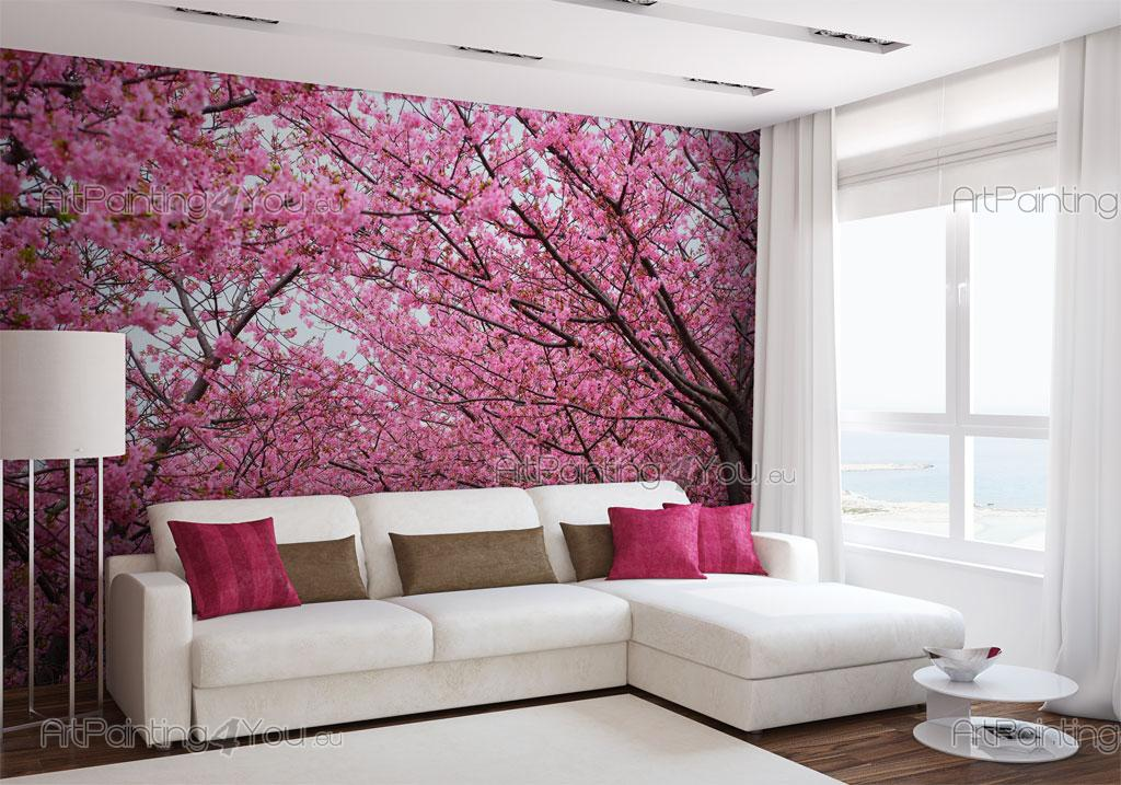 Wall murals flowers canvas prints posters cherry for Cherry blossom wallpaper mural