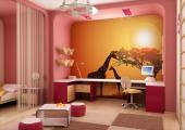 Wall Murals for Kids & Posters - Wildlife wallpapers for kids! Decorate the baby or kid room with a wall mural that will take all of you to the African savanna. Join the mother giraff...