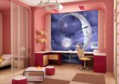 Wall Murals for Kids & Posters - Some fairies are nocturnal like stars and owls. This fairy with indigo hair floats instead of flying and this wallpaper for a kid room allows us to se...