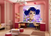 Wall Murals for Kids & Posters - Fairies live in perfect harmony with Mother Nature! Apply on a wall of the kids room this wallpaper featuring a little fairy with blue hair whose clot...