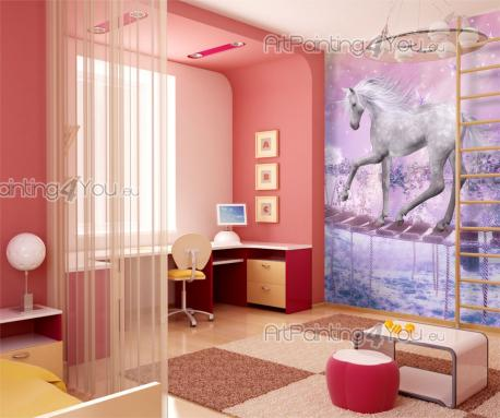 Wall Murals for Kids & Posters - In a magical valley where a purple mist envelops everything, an unicorn has managed to keep its fur white and silver. This fantasy wall mural for the ...