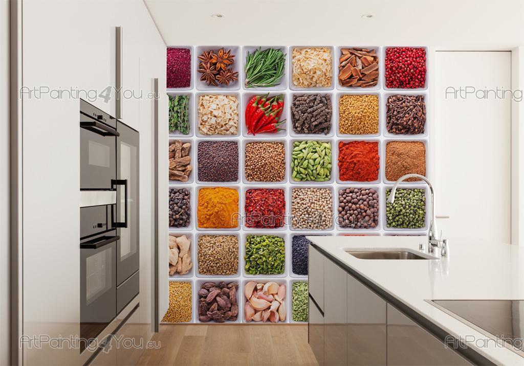 Decorazioni Cucina Moderna : Papier peint poster herbes aromatiques Épices