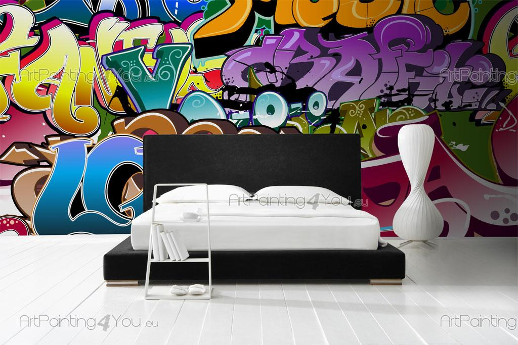 papier peint graffiti musique poster impression sur toile graffiti tag 1166fr. Black Bedroom Furniture Sets. Home Design Ideas