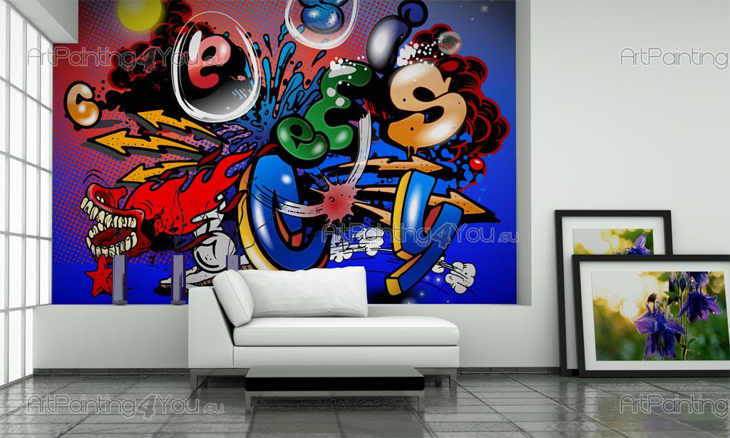 papier peint graffiti musique poster impression sur toile graffiti tag 1447fr. Black Bedroom Furniture Sets. Home Design Ideas