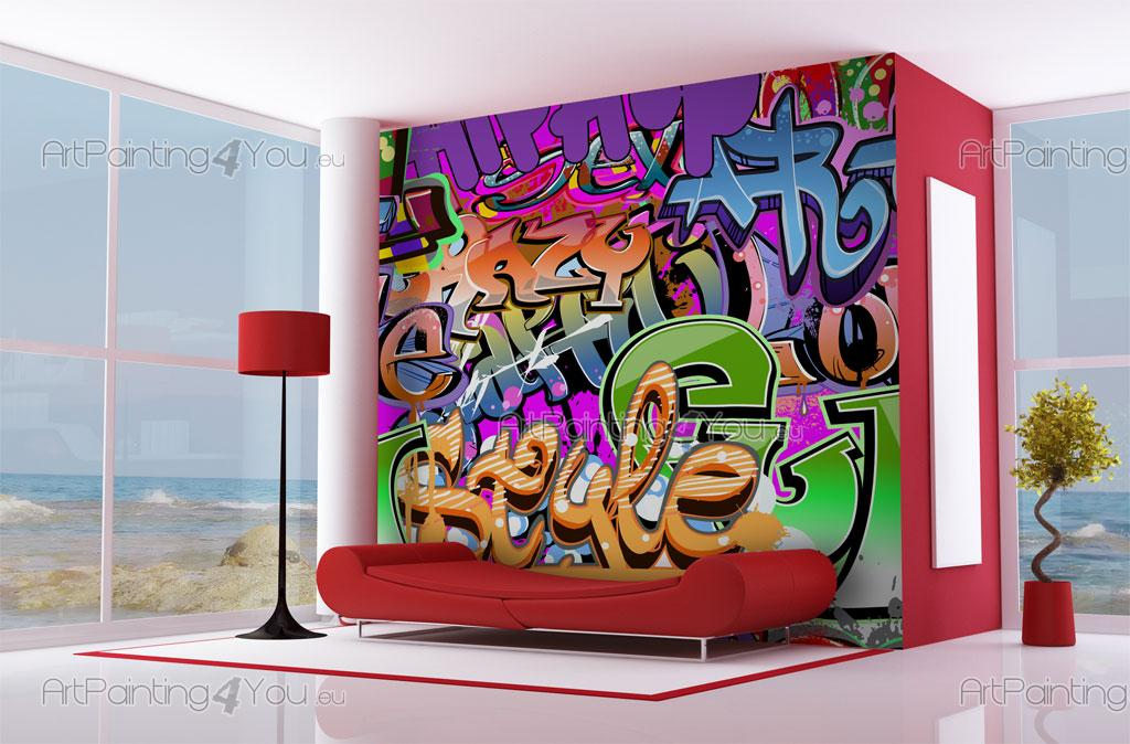 papier peint graffiti musique poster impression sur toile graffiti tag 1487fr. Black Bedroom Furniture Sets. Home Design Ideas