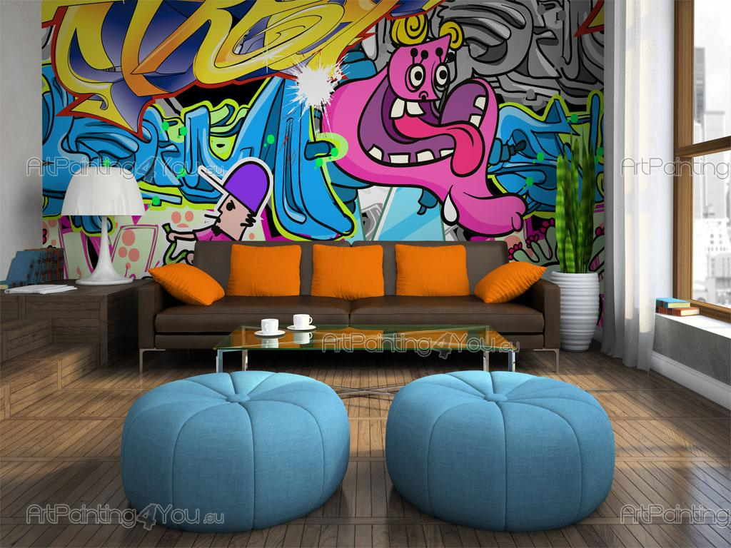 papier peint graffiti musique poster impression sur toile graffiti tag 1876fr. Black Bedroom Furniture Sets. Home Design Ideas