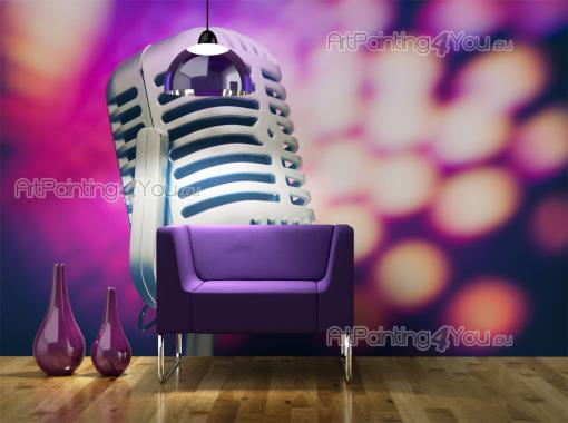 Retro Microphone - Graffiti and Music Wall Murals & Posters