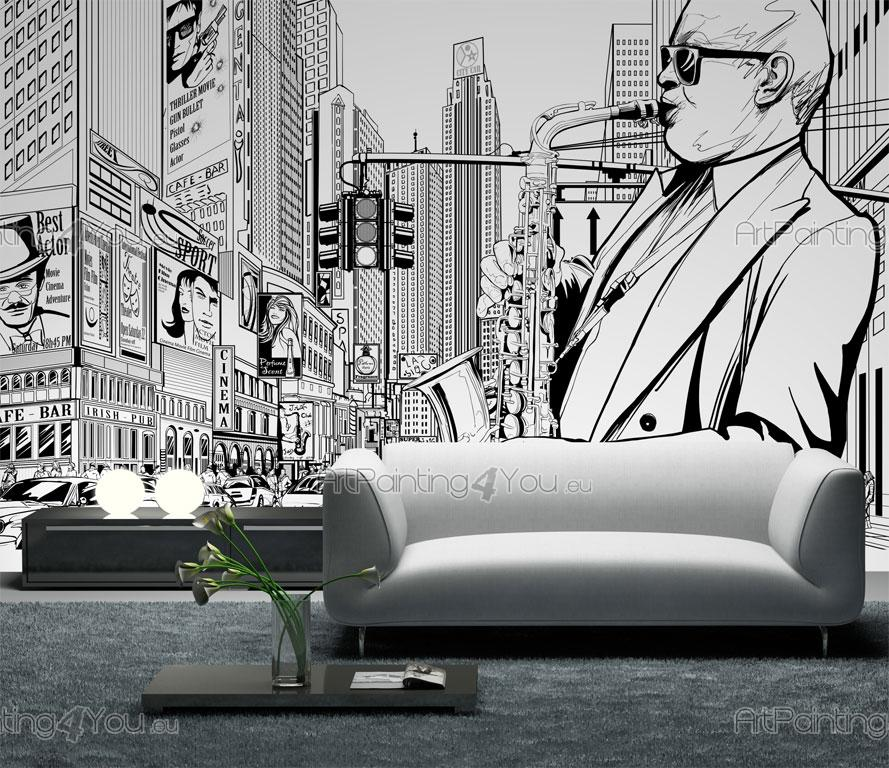 wall murals posters jazz in new york artpainting4you. Black Bedroom Furniture Sets. Home Design Ideas