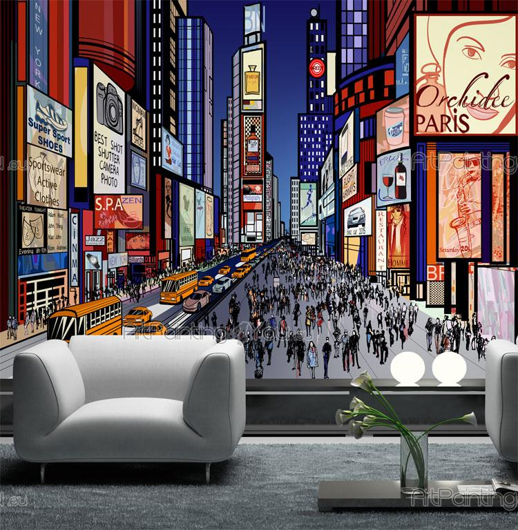 Wall murals cities canvas prints posters times square - Poster mural new york ...