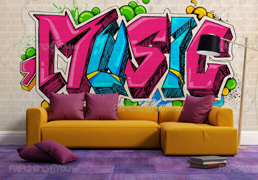papier peint poster musique graffiti tag mcgr1033fr. Black Bedroom Furniture Sets. Home Design Ideas