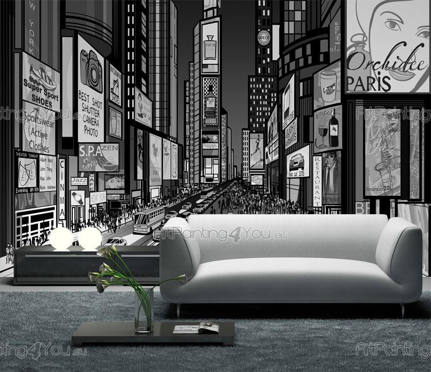 Papier peint poster impression sur toile noir blanc for Credence new york noir et blanc