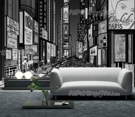 Times Square New York City - Black and White Wall Murals & Posters