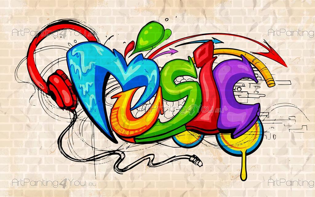 Papier peint graffiti musique poster impression sur for Immagini di murales e graffiti