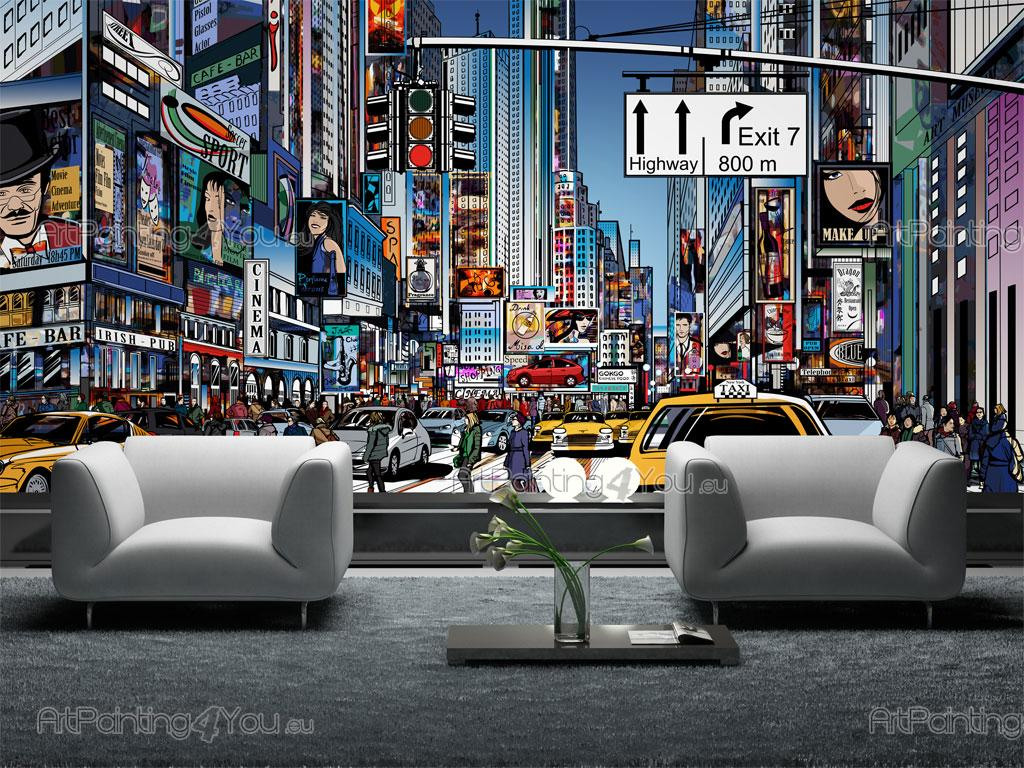 Wall murals cities canvas prints posters times square for Acheter poster mural new york