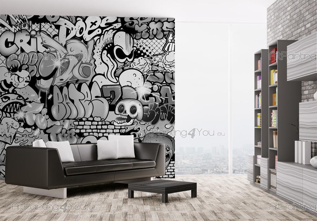 Wall murals posters graffiti for Black and white mural prints