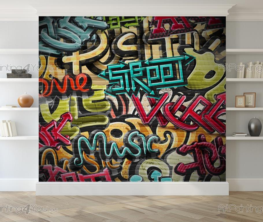 papier peint graffiti et musique poster. Black Bedroom Furniture Sets. Home Design Ideas