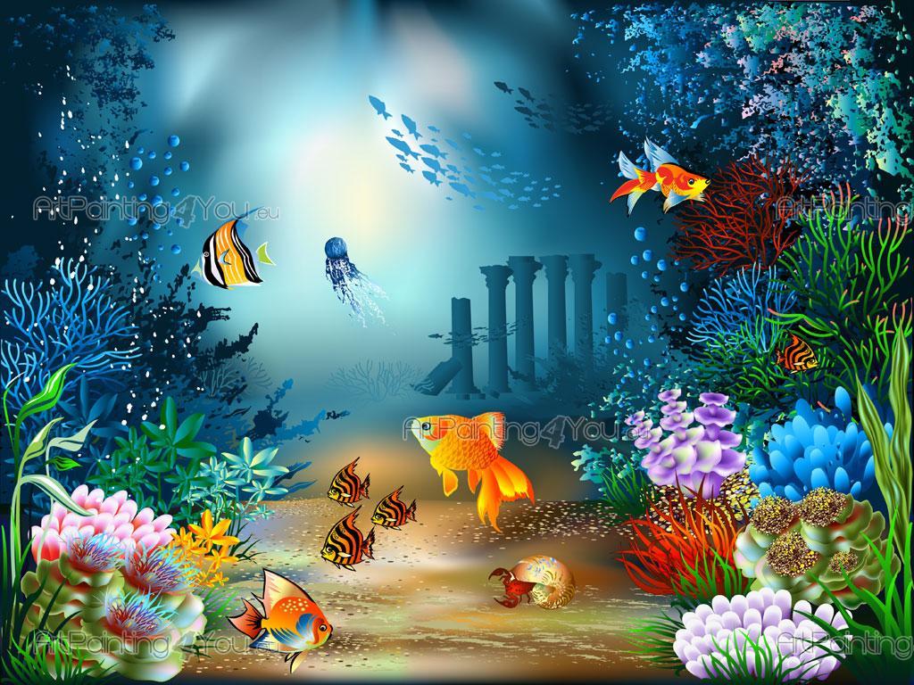 Kindertapeten fische meerestiere for Blue fish pediatrics