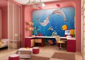 Wall Murals for Kids & Posters - Gather your kids and swim across a coral reef! This marine wall mural for a baby or kid room features a couple of bottlenose dolphins on a date and a ...