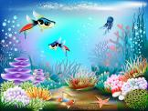Wall Murals for Kids & Posters - Oceans can be as colourful as gardens. This wallpaper mural, a great decor idea for the kids room, features a gorgeous underwater scenario. Algae, cor...