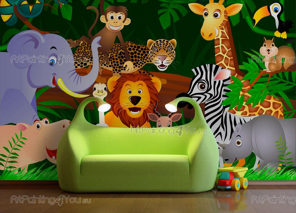Papier Peint Bebe Animaux Jungle Artpainting4you Eu Mci1013fr